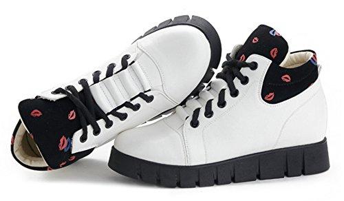 DADAWEN Femme Automne Bisou Printed Sportif Sneaker Blanc