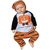OdeJoy Halloween Baby Langeärmel Kürbis Kopf Streifen Drucken Oberteile + Hose + Hut 3 Stück Gestreift Dreieck Gedruckte Kleidung + Hosen + Cap Satz Karikatur HA Yi (Weiß,90)