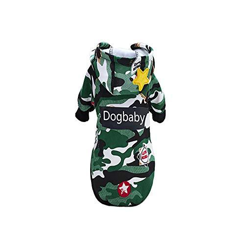 KDSANSO Haustierbekleidung, Hündchen Sport Tarnung Kostüme Winter süßes Sweatshirt Hoodies Bekleidung für Welpen Chihuahua Teddy Mops Weihnachtsfeier verkleiden (Grün, - Süße Sport Kostüm