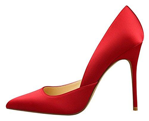 Aisun Damen Satin Geschlossene Zehe Spitz Stiletto Pumps Schuhe Rot