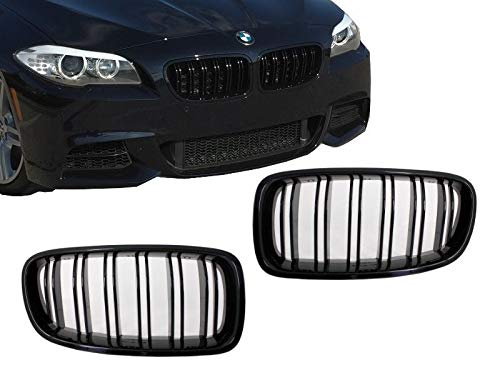 Majome 2 Pcs Chrome Dual Fin Front Grille Grill Hood Nose for BMW F10 F11 5 2010-2015