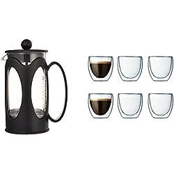 Bodum - 10682-01 - Kenya - Cafetière à Piston 3 Tasses - 0,35 L - Noir + Coffret à 6 verres Pavina 8cl