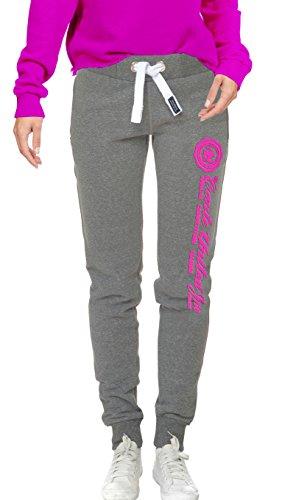 M.Conte Sweat-Pants Modello Ramona Pantaloni in Felpa sportivi da Jogging tuta felpa per donna Grigio Melange Taglia S