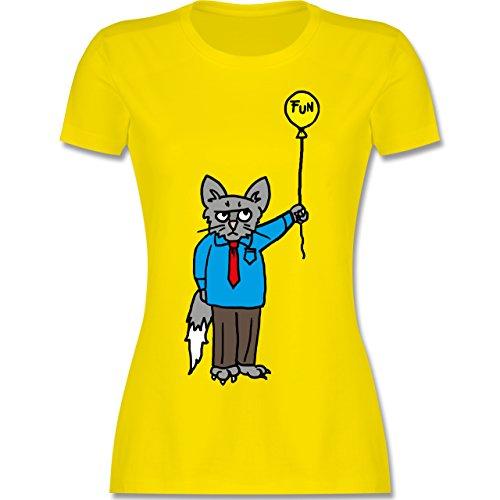 Nerds Geeks Workaholic cat tailliertes Premium TShirt mit Rundhalsausschnitt  für Damen Lemon Gelb