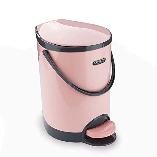 Papelera Bote de Basura de Tipo Pedal Baño doméstico Sala de Estar Dormitorio Cocina Cubierta Creativa con Tapa Tubo de Baño WC Hyun Pink 8.5 litros (Color : Pink)