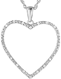 "Sterling Silver Diamond Heart Pendant (1/8 CT) With 18"" Chain"