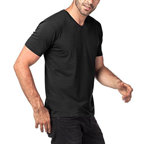 Lapasa Camiseta Elástica para Hombre Ajustada de Manga Corta con Cuello V de Extra larga-staple Algodón Peinado, Pack de 2 (M, Negro)