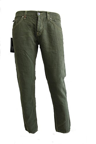 Dondup Mius Jeans Verde Militare Uomo Made In Italy (43, Verde Militare)