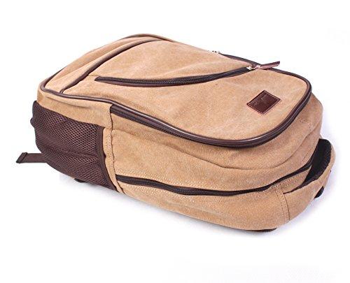 KISS GOLD Canvas Multifunktion Rucksack Schultasche Unisex 15 Liter Khaki