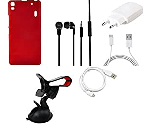 NIROSHA Cover Case Charger Headphone USB Cable Mobile Holder car for Lenovo K3 Note - Combo