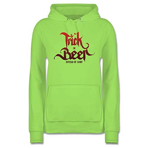 Shirtracer Halloween - Trick or Beer Halloween Typo - M - Limonengrün - JH001F - Damen Hoodie