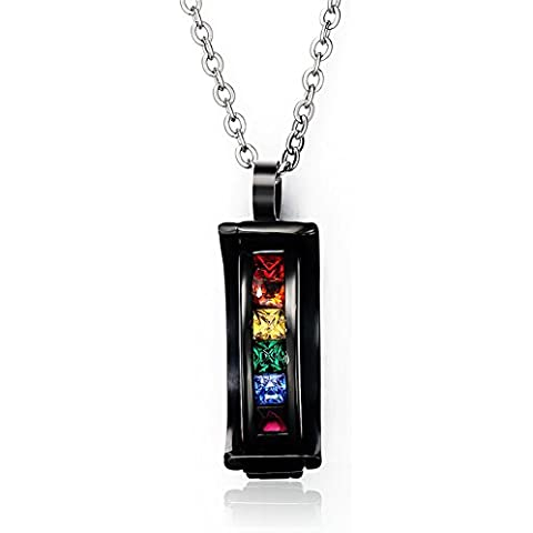 Acciaio inossidabile Arcobaleno Collana con ciondolo di cristallo per gay & Lesbian Orgoglio, Catena Libera 20Pollici