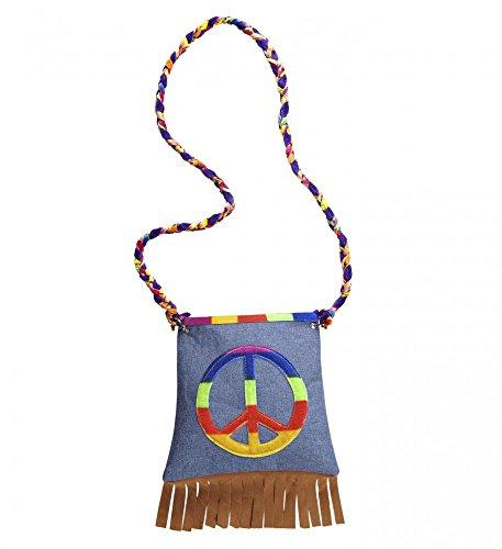 Hippie-Tasche mit Peace-Zeichen 70er Jahre Flower Power Woodstock (Siebzig Kostüme)