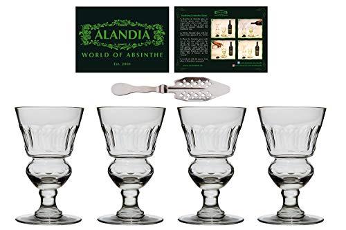 4x Copas / Vasos Absenta | Auténtica reproducción del original | Hecho a mano | Una cuchara de Absenta incluida