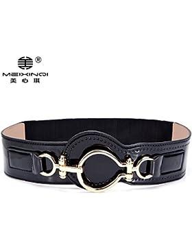 SILIU*La vuelta la cinturilla ancha Femenina Sra. elegante decoración con fajas elásticas downcoat wild wide belt...