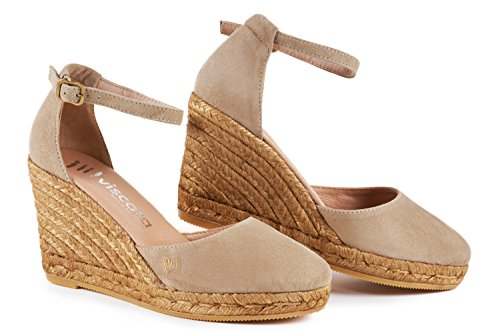 VISCATA Palamos Elegant Comfort, Soft Suede, Ankle-Strap, Closed Toe, Espadrilles with 3-inch Heel Made in Spain couleur chair