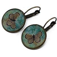 Orecchini retro resina Farfalle verde bronzo 2cm regali personalizzati natale compleanno ospiti matrimonio amico festa della mamma grazie padrona