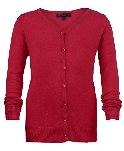 Mädchen lang Hülse feine Strickjacke gestrickt Kinder V Auschnitt Pullover TOP - Rot, 13-14 Jahre -