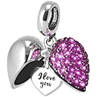 I Love You-Silver heart Secret Message Charm-Locket Bead For Necklace-Fits Pandora Chamilia Trollbeads Bracelets pFU6z9p