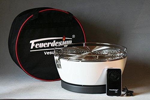Feuerdesign VESUVIO Höllenheißer Tischgrill Picknickgrill Bootsgrill mit Akku-Lüfter Farbe CREMEWEISS