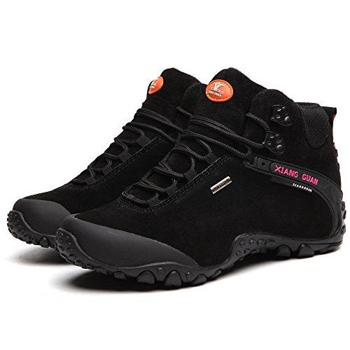 Scarpe uomo da escursionismo & stivali in pelle scamosciata per invernali 82287 Nero