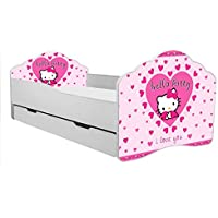 "TODDLER KIDS CHILDRENS BED""hello kitty"" size 140x70 cm with matress and drawer"
