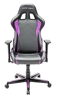 DXRacer OH/FL08/NP - Silla Gaming (Asiento y respaldo acolchado, Colores negro y rosa)