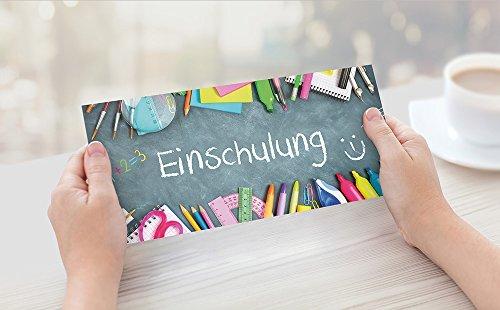 beriluDesign Einschulung Einladungskarten mit Umschlägen (12er Set) Zum Schulanfang | Liebevoll Gestaltete Einladungen für Kinder Zum Schulbeginn - 7