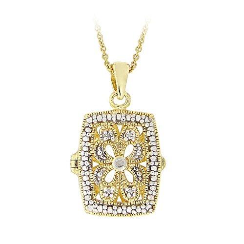 Halskette aus 18K Gold über Sterlingsilber mit Diamant im filigranen viereckigem Medaillon