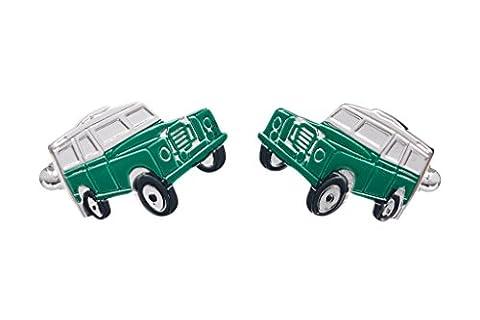 Green Farm Landrover Jeep Style Boutons de manchette-Onyx Art Boutons
