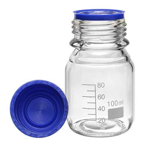 ChaRLes 100/250/500ml Glasreagent-Fottel Borosilicate Capacity Bottle Blue Screw Cap - 250ml (Elektro-kamin Blue)
