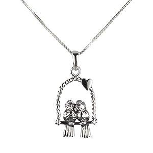 FIVE-D Set aus Kette und Anhänger Vögel Liebe Freundschaft 925 Silber in Geschenkverpackung