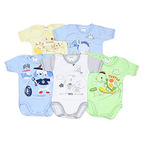 TupTam Unisex Baby Kurzarm-Body mit Aufdruck Spruch 5er Set, Farbe: Junge, Größe: 74 Baby-jungen-set