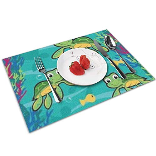 Funny&shirt Hawaiian Baby Turtle Placemats,Non Slip Washable Placemats for Dining Table Wipe Clean Table Mats Set of 4 (Shirt Baby Hawaiian)