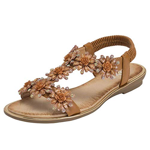 Women's Floral Summer Holiday Elastic Open Toe Wedge Sandals Flower Decoration with Tight Sandals,Tan,3 UK -