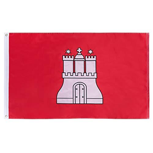 Lixure Hamburg Flagge/Fahne Burg Feste Top Qualität für Windige Tage 150 x 90 cm Stickerei-Flagge Durable 210D Nylon Draußen/Drinnenr Dekoration Flagge - Nicht billiger Polyester MEHRWEG