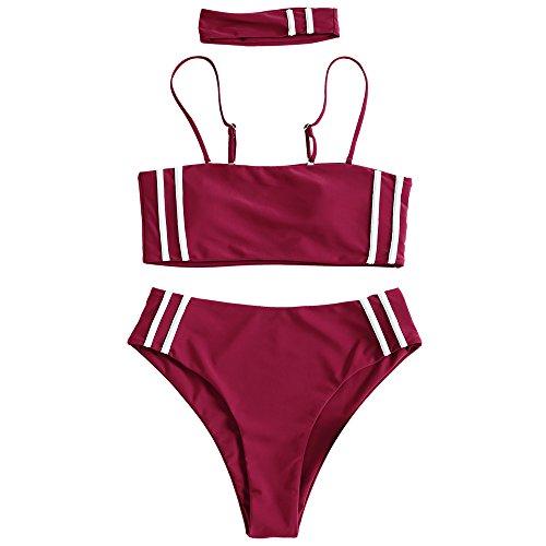 ZAFUL Damen Sommer Bandeau High Waist Bikini mit Halsband Gestreifter Badeanzug Bademode(Rotwein M)