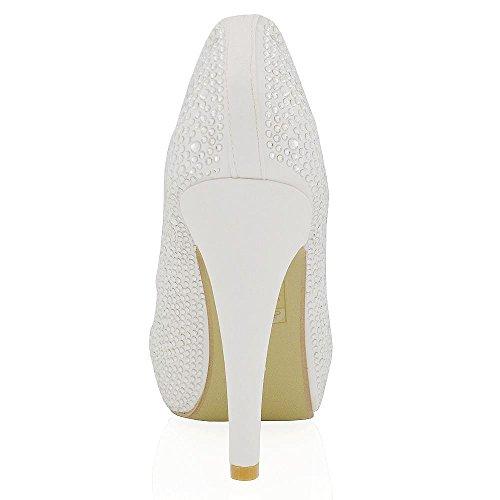 Essex Glam Scarpa Sposa Peep Toe Finto Diamante Tacco Alto Plateau Bianco Satinato