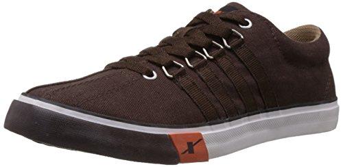 Sparx Men's Dark Brown Canvas Sneakers - 8 UK