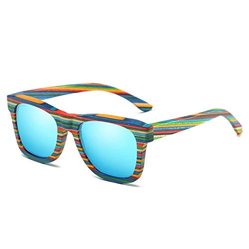 BuBu-Fu Holz-Sonnenbrillen Polarisiert FüR MäNner Und Frauen, Regenbogen-Beschichtete Sonnenbrillen, Blaue Polarisierte GläSer, Leichte Rahmen Und Holzbox, Schwebend Im Wasser,Colorbblue