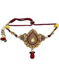 DollsofIndia Front Design Golden Glass Adjustable Polki Armlet for Women (3 x 2.5 Inch)
