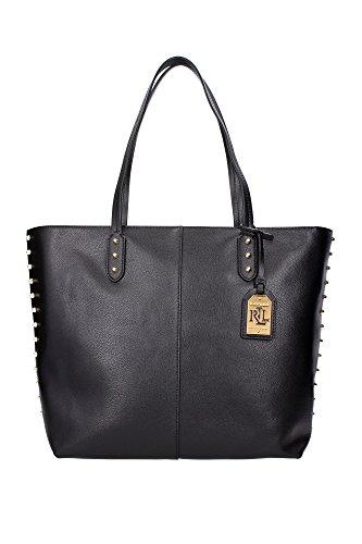 Borse Shopping Ralph Lauren Donna Pelle Nero e Oro N91L7556AL694A0001 Nero 16x32x32 cm