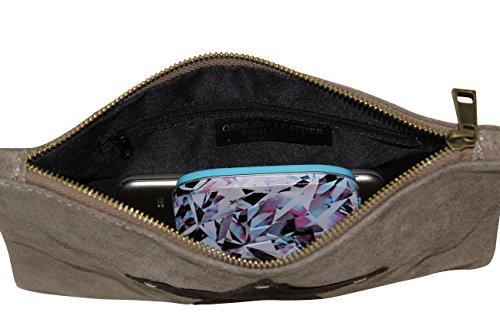 AMBRA Moda Damen Wildleder Clutch Handtasche veloursleder Tasche Stern Handschlaufe WL814 Dunkelrot