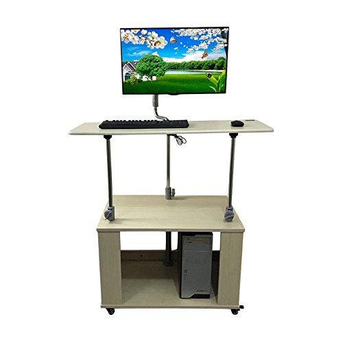 FEI Tragbarer beweglicher stehender Notizbuch-Laptop-Tabellen-Warenkorb, der Speicher-Computer-Schreibtisch mit justierbarer Höhe und Schwenkoberseitenpodest-Podium mit Lagerung Rollt (Speicher Laptop Warenkorb)