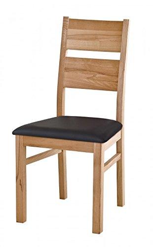 Henke Möbel Stuhl mit Polster in dunkelbraun Carisma Kernbuche massiv geölt