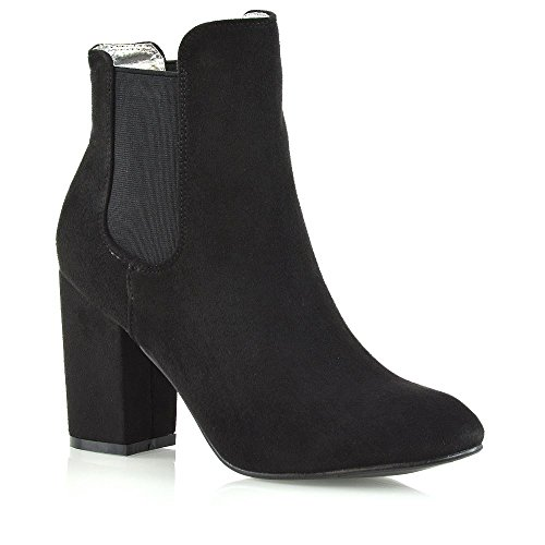 ESSEX GLAM Donna Casuale Heel Di Blocco Scivolare Su Stivaletti Le Signore Elastico Elegante Chelsea Scarpe Nero Finto Scamosciato