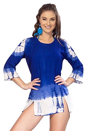 La Leela p Viskose Rundhals tie dye gedruckten Strand schwimmen vertuschen blau (Vertuschen Schwimmen Strand)