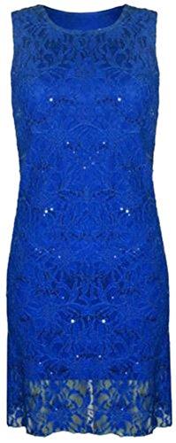 Frauen plus Größe floraler Spitze Pailletten gesäumt lange Weste ärmelloses Kleid (48/50, Royal Blue) (Gesäumt Spitze)