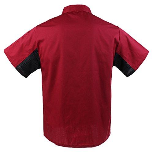 MagiDeal Herren und Damen Kurzarm atmungsaktiv Kochjacke mit Paspel und Knöpfe im verschiedenen Farben - Rot, XL - 4