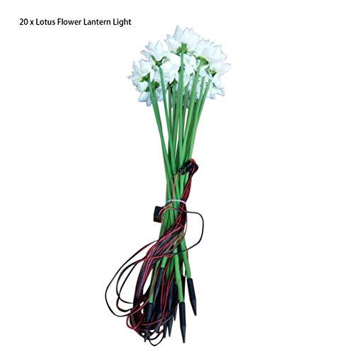 20pcs / set Imitation Lotus Fleur Lanterne Extérieure Imperméable Au Sol Lumière LED Night Light Romantique Paysage Lampe Décoration blanc
